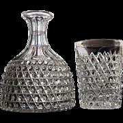 Dorflinger 1870's Night Set  Water Carafe and Tumbler HOB DIAMOND PATTERN