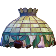 c.1920/30  200+ Panel Leaded Stained Glass Lamp Shade w/fruit motiff