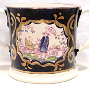 Antique Staffordshire Loving Cup with Chinoiserie Cobalt & Lustre Decoration