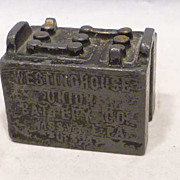 SOLD 1920s Advertising Figural Paperweight Westinghouse Union Battery