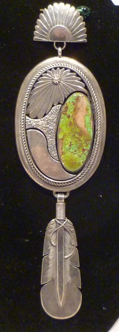 Exceptional Sterling Silver & Turquoise Pendant by Delbert Vandever Navajo