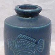 Gustavsberg Wilhelm Kage Verkstad Studio Pottery Fish Vase 1950s