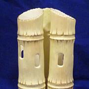 c1900 Locke & Co. Worcester Triple Faux Bamboo Porcelain Vase