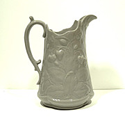 19th C. English  Relief Molded Jug Strawberry Pattern