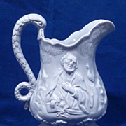 19th C. English  Relief Molded Jug Holy Family & Saint Peter