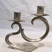 REDUCED Pair of Art Deco Dutch Pewter Candelabra Holland Netherlands