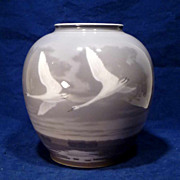 Huge Royal Copenhagen Flying Geese Vase Pre 1923 Marks