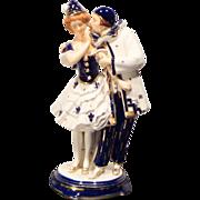REDUCED Hinode Moriyama Pierrot Couple Art Deco Porcelain Figurine