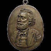 REDUCED Antique Bronze Plaque French Statesman Leon Gambetta