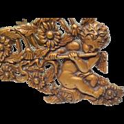 SOLD Victorian Cast Iron Boudoir Mirror with Cherubs