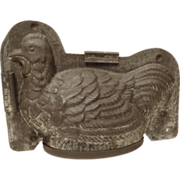 REDUCED Large Antique Tin Chocolate Mold Hen or Chicken