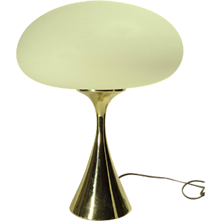 REDUCED 1960s Laurel Mushroom Table Lamp w/ Brass Base