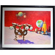 REDUCED Original Illustration Painting for Brown & Bigelow Humorous Science Fiction Moon Scene