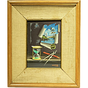 REDUCED c1960s Trompe L'Oeil Still Life Painting by Alfano Dardari
