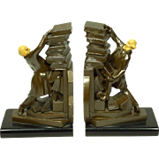 """1930s Bookends """"Hold Those Books"""" J B Hirsch"""