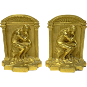 """Beautiful Gilt Bookends """"The Thinker"""""""