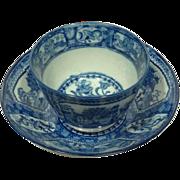 Fine Antique Staffordshire Blue & White Handleless Cup & Saucer