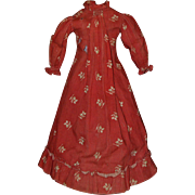 1860-70s Turkey Red Dress for Large China, Mache, Wax Dolls