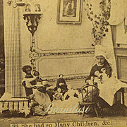 c. 1880-90s Stereoview, Little Girl, Tea Party w Large Black Cloth Doll, Chinas, Mache