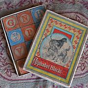 SOLD c. 1865 Patent Embossed Alphabet Wood Blocks in Original Box