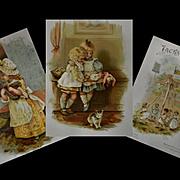 c1892 Jacks & Jills, Raphael Tuck, Helen Jackson, Illus. 16 Color Pages Children, Cats, Dolls