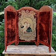 SOLD c1850s Velvet/Needlepoint Tabletop Screen, Dickens & Child, Backdrop for Dolls