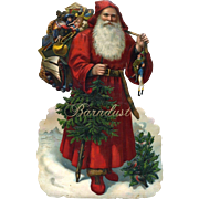 SOLD Large Embossed Die Cut Father Christmas / St.  Nicholas, Beautiful Color / Condition