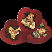 SOLD 3 Large Die Cut Valentine Hearts, Brundage Comic Cuties, Raphael Tuck, Nice