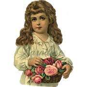 SOLD Large Victorian Die Cut, Young Girl with Long Hair, Basket of Roses