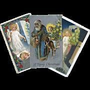 SOLD 3 Early 1900's Christmas Postcards, Santa, Angels, Deer, Sleeping Child