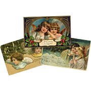 SOLD 3 Antique Christmas Postcards with Angels, inc. Early Italian Card