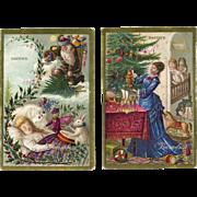 SOLD c. 1880 Pair of Wonderful Victorian Trade Cards, Santa, Christmas Tree, Toys, J. Bacon &