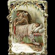 SOLD St. Nick, Santa Fills Sleeping Child's Stocking, Victorian Die Cut Christmas Card, Robins