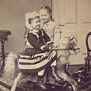 1874 Sweet Girl Rides Side Saddle on a Large Toy Rocking Horse, Early F. G. Weller Stereoview