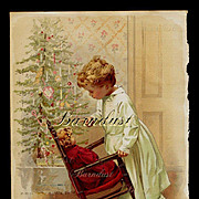 SALE PENDING c. 1890s Christmas Morning Print, Child, Tree, Doll--Wonderful!