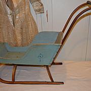 Antique Doll Push Sleigh, Original Powder Blue Paint & Stenciling
