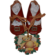 SALE PENDING Vintage Red Oilcloth Doll Shoes, Toe Buckles & Teddy Christmas Tag