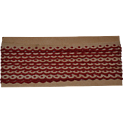 SALE PENDING 4 Yards Red on Ecru Embroidered Trim w Scalloped Edge, c. 1910