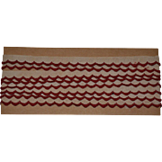 SALE PENDING 3 Yards Red on Ecru Scalloped Embroidered Trim, c. 1910s