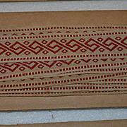 6 Yards Red on Ecru Embroidered Trim