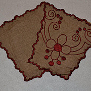 c. 1910s Red on Ecru Embroidered Ornamental Pieces, Dolls