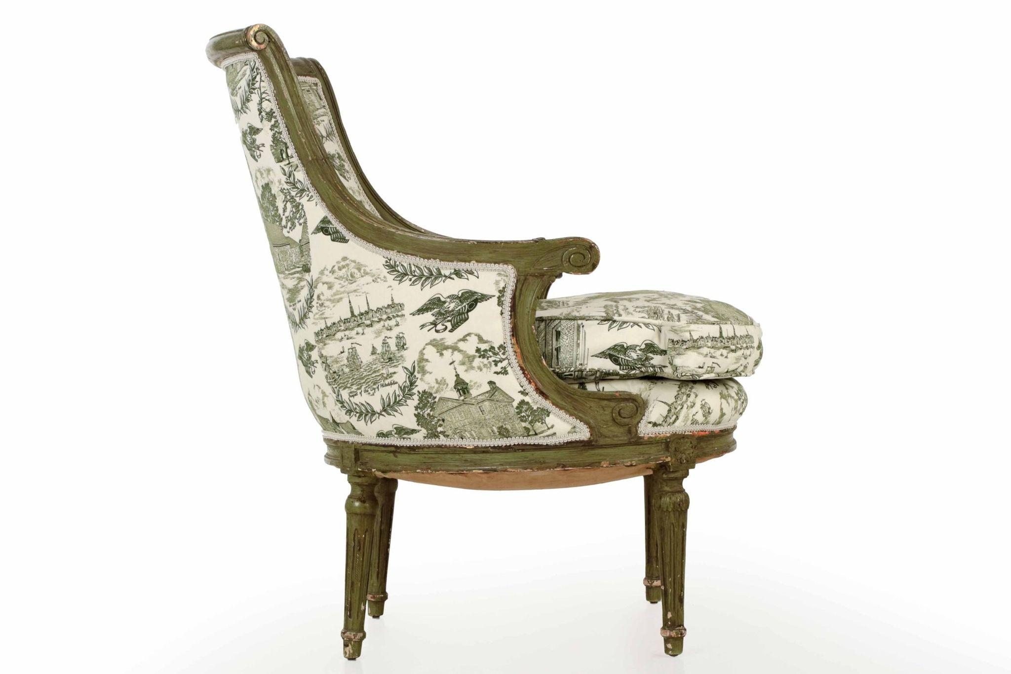 French louis xvi green painted antique arm chair from