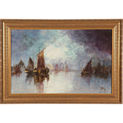 Antique Nautical Maritime Painting of Ships at Port, 20th Century