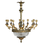 SALE French Antique Crystal Chandelier Candelabra, Early 20th Century