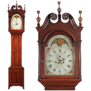 SALE American Federal Antique Tall Case Clock, Benjamin Morris, Bucks County, Pennsylvania
