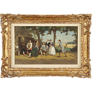 REDUCED Jean Pezous Antique French Painting of Figures Playing Games