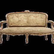 French Louis XV Sofa Settee Antique, 19th Century