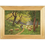 SOLD Landscape Painting of Sheep at Pasture, Antique, 19th Century, Signed