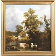 British School Antique 19th Century Painting of Cows