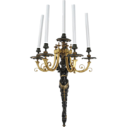 SALE French Antique Bronze Winged Figural Candelabra Wall Sconce Lamp c. 1860